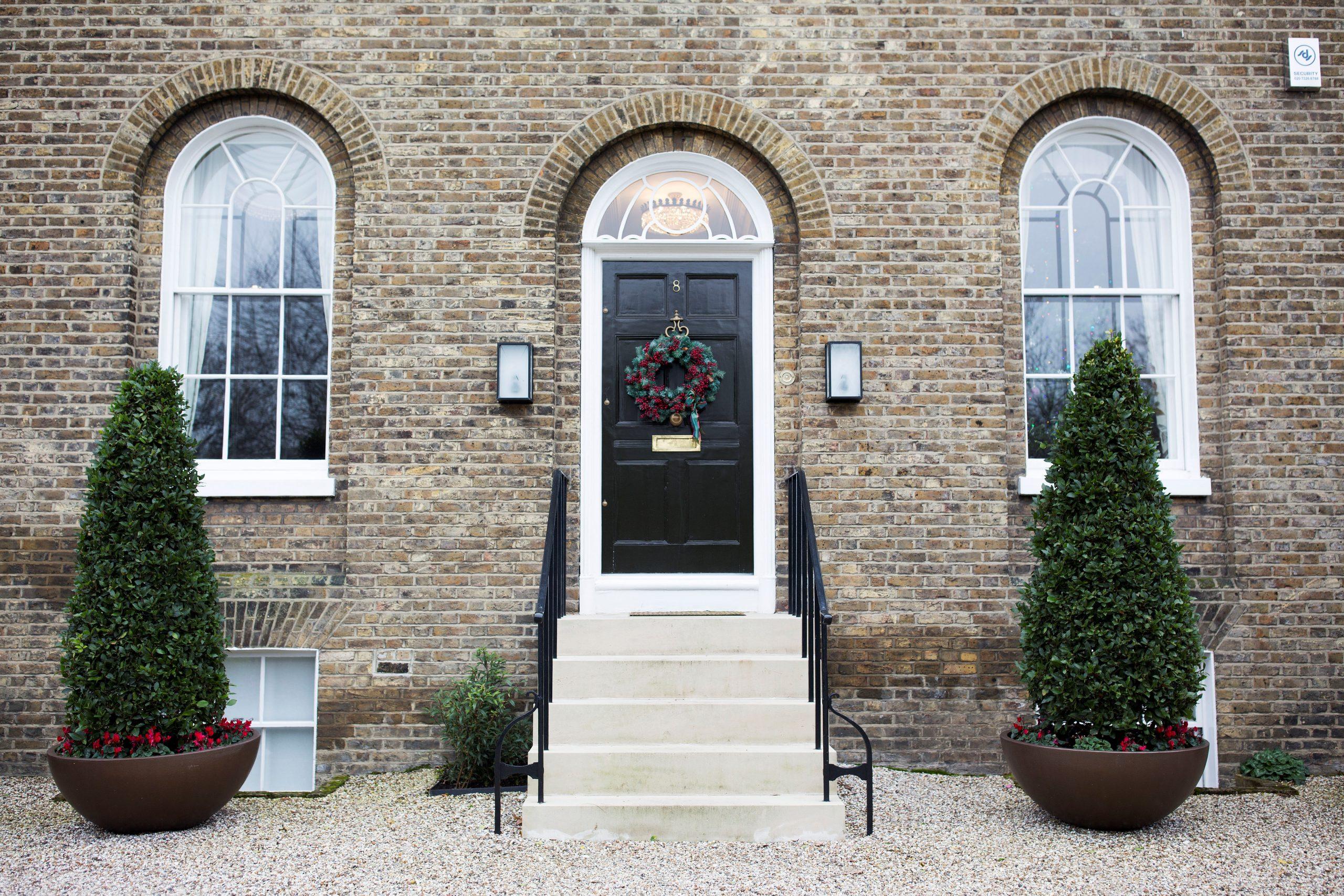 Black Front Door with Wreath