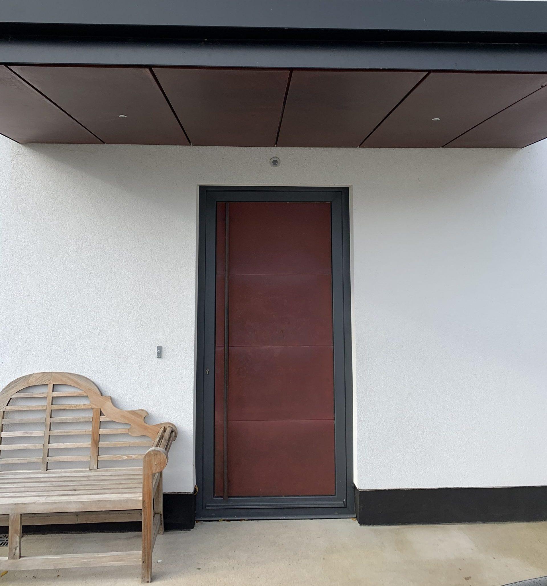 Brown Side Door with Doorbell